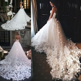 Wholesale Vintage Butterfly Picture - Couture 2017 Princess Wedding Dresses with Flowers And Butterflies in Cathedral Train Arabic Middle East Church Garden Bridal Wedding Gowns