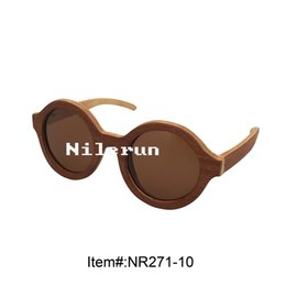 Wholesale Drop Shipping Sunglasses - Stylish light round brown composite wood sunglasses drop shipping