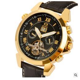 Wholesale Super Gold Glasses - Super Clone Luxury Brand Drive De Skeleton Hollow Tourbillon Automatic Mens Watch Rose Gold Leather Strap Cheap New Fashion Cheap Watches