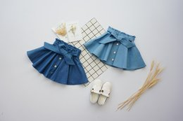 Wholesale Bow Ties For Children - Baby Bow Tied Toddler Kids Princess Boutique Denim Skirts Clothing Wholesale for Girls Summer Children Ruched Clothes