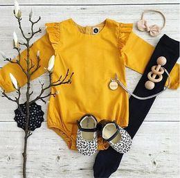 Wholesale Yellow Baby Romper Suit - baby bodysuit 2017 New Spring Ruffle Collar Long Sleeve Girls Romper Cute cotton pompon babies boutique diaper suit Infant Onesies