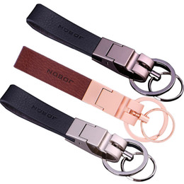 Wholesale Hold Boy - 10PCS Car Leather Key Chain Zinc Alloy Metal Car Key Ring for Ladies Bag Hand-held Key Accessories JOBON Brand Best Gift Chains