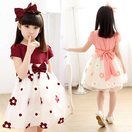 Wholesale Dresses Girl Age 12 - Girl Dress 2017 New Summer Flower Girls Party Princess Dresses 3-12 Age Kids Bow Mesh Costume Vestidos Child CLothes