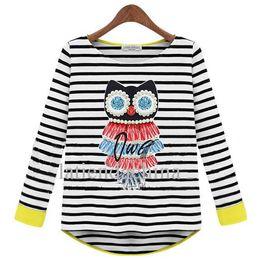 Wholesale Beaded L - NEW HOT Stars Fashion Stripes cotton beaded long sleeve T-shirt Women's Long Sleeved S M L XL XXL