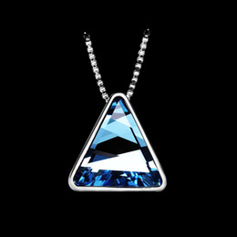 Wholesale Yellow Swarovski Crystal Necklace - Hot Sale high quality Triangle Swarovski Crystal Pendants Necklace Jewelry. Healing crystal necklace, different color for option