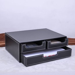 Wholesale Office File Box Organizer - Wholesale- double-layer office 3-drawer leather desk file cabinet stationery box container organizer document tray drawer desk set 218A