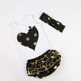 Wholesale Purple Heart Clothes - Girls Boutique Clothing Black Gold Polka Dots Metallic Baby Clothes Heart Embroider Top Bloomer Set Toddler Outfit