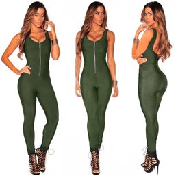 Wholesale Wholesale Lady Rompers - Wholesale- Adogirl Zippers Backless Jumpsuits Women Summer Sleeveless Rompers 2017 Lady Skinny Bodycon Jumpsuit Solid One Piece Overalls