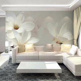 Wholesale Paper White Plant - Wholesale- European Style White Flower Murals Wallpaper 3D Mural Photo Wall Papers For Bedroom Home Decor Papel De Parede Para Quarto EM 3D