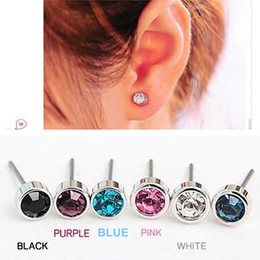 Wholesale Stud Earrings For Cheap - ES0003 Hot Selling New Fashion Cute Little Simple Crystal Stud Earrings STRING For Women Cheap Jewelry Accessories Wholesale