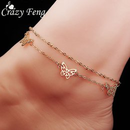Wholesale Golden Anklets - High Quality Sexy Summer Beach Golden Butterfly Bell Charms Anklet Chain On the Leg Bracelet Jewelry Accessories For Women Girls
