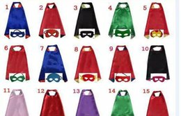 Wholesale Christmas Flash Movie - DHL 15 Style Kids Cape and Mask Set Double Side L70*70cm - Flash Supergirl Batgirl Robin Halloween Cape Mask Costume 2pcs set JC346