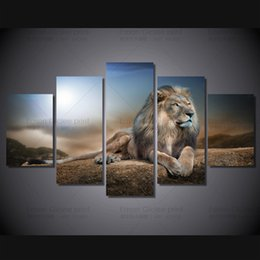 Wholesale Pictures Groups - HD Printed Animals Lion Group Painting Canvas King Of Lion Paintings Picture Print On Canvas For Home Decoration Wall Art Picture