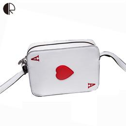 Wholesale Pocket Poker - Wholesale- 2016 New Arrival PU Leather Messenger Bags Poker Hearts Shoulder Bags Women Cartoon Cute Handbag BS499