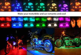 Wholesale Motorcycle Led Light Remote - DC 12V - 14V 50W 10pcs Multi-color Remote Control Motorcycle Motorbike LED Atmosphere Lamp Light Water-resistance Glow Light 195160101