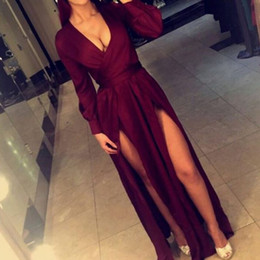 New Arrival V Neck Two Front High Leg Splits Prom Dress Cheap Long Sleeves Formal Graduation Evening Party Gown Custom Made Plus Size