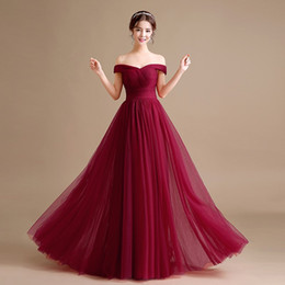 356b49a62bf Off Shoulder Tulle Long Formal Evening Dresses Lace Up 2018 Burgundy  Evening Party Gowns