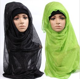 Wholesale Maxi Scarves Plain - Wholesale-solid plain hijab scarf fashion wraps foulard viscose cotton maxi shawls soft long islamic muslim scarves hijabs