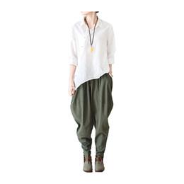 Wholesale Cotton Linen Trousers Women - Linen Pants Summer Spring Women Harem Pants Female Leisure Style Bloomers Loose Trousers Ladies' Causal Pants Cotton Capris