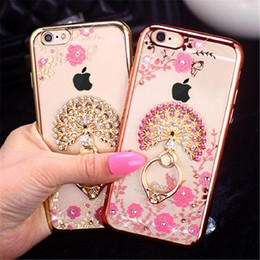 Wholesale S4 Cover Fit - Luxury Bling Peacock Diamond Ring Holder Case Crystal Flexible TPU Cover With Kickstand For Samsung S4 S5 S6 edge Plus Note 3 4 5