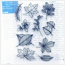 Wholesale Wholesale Wedding Albums - Wholesale- 11.3*15.56cm leaves series Transparent Silicone Rubber Clear Stamps cartoon for Scrapbooking DIY Christmas wedding album