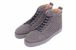 Wholesale Patent Length - Luxury Brand Red Bottom Sneakers gray Suede with Spikes Casual Mens Womens Shoes Nails that are consistent in length Trainers Footwear