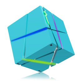 Wholesale Portable Stereo Amplifier - Qone LED Creative Portable Rubik's cube type Car Bluetooth Speaker White Pink Blue Black
