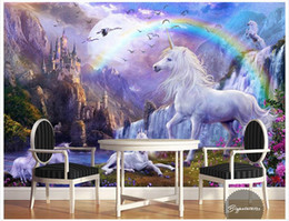 Wholesale Wild Decor - 3D photo wallpaper custom 3d wall murals The blue sky rainbow waterfall white horse wild animal landscape painting 3d living room wall decor