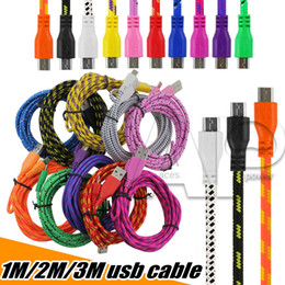 Wholesale Micro Usb Woven - 1m 2m 3m Micro USB Cable S7 Edge 3FT 6FT 10FT Nylon Woven Cords Micro USB Fiber Fabric Braided Data Charger Cables Cord
