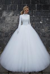 Magnífico vestido de fiesta de cuello alto palabra de longitud de tul blanco Vestidos de novia musulmanes de manga larga de encaje vestidos de novia nupciales famosos desde fabricantes