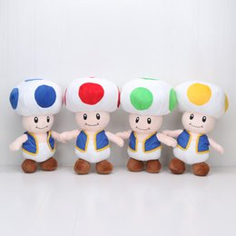 Juguetes de champiñones online-40cm Super Mario Bros Mushroom Toad 4 colores súper mario felpa muñeca de peluche juguetes para niños