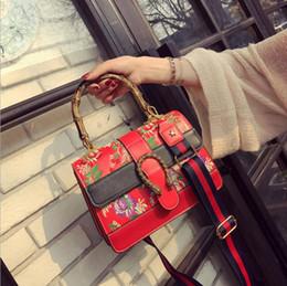 Wholesale European Trend - 2017 new folk style embroidery women bamboo handles handbag fashion show shoulder bags tote bag designer trend hand bag