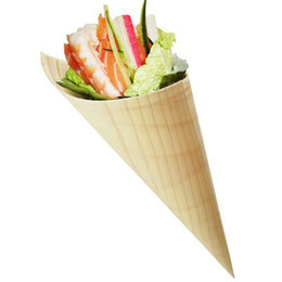 Wholesale Wood Salad - Wholesale- Free Shipping Party Wedding Suppliers Disposable Pine Wood Cone, Sushi,Salad Dessert French Fries, 5 Inch, 200 Count Box