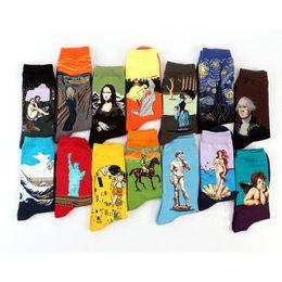 Wholesale cotton crew socks for women - Wholesale- Free Shipping Fashion Art Cotton Crew Socks Painting Character Pattern for Women Men Harajuku Design Sox Calcetines Van Gogh