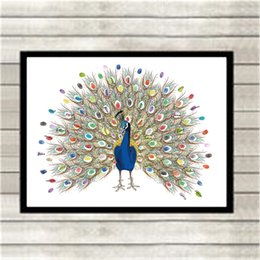 Wholesale Peacock Oil Painting Framed - Thickening Canvas Colorful Peacock Party Fingerprint Signature DIY Custom No Frame Guest Book Wall Art Drawing Wedding Souvenirs