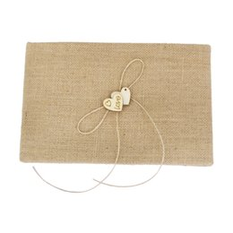 Wholesale Party Guest Books - New Hot Sale Village Burlap Hessian Guest Book Rustic Wedding Home Decoration Reception Set Event Party Supplies Birthday Gift