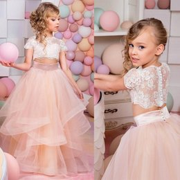 Wholesale Toddler Flower Print Dresses - 2017 Vestidos Primera Comunion Two Piece Ball Gown Flower Girl Dress Lace Toddler Glitz Pageant Dresses Pretty Kids Prom Gown