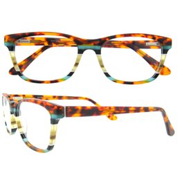 Wholesale Designed Eyeglasses - NEW ARRIVAL DISCOUNT BRAND DESIGN SQUARE ORANGE BLUE STRIPE PLAIN LENS WOMEN SPECTACLES WITH YOUR LOGO