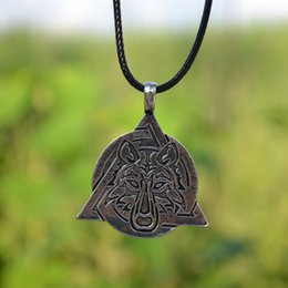 Wholesale Tribal Men Jewelry - Wolf Necklace Pendant Viking Necklace Teen Tribal Wolf Pendant Necklace Gothic Animal Wolf Jewelry For Men drop shipping