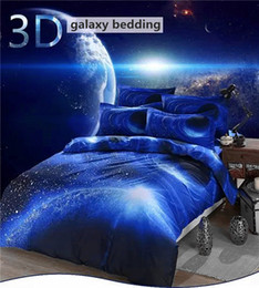 Wholesale Cheap Twin Sheets - Wholesale-Hipster 3D Galaxy Bedding Set Universe Outer Space Themed Galaxy Print Bedlinen Bed sheet Twin Queen Size Cheap Hot