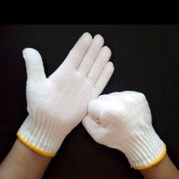 Wholesale White Cotton Work Gloves Wholesale - 10 Pairs 600G Polyester Work Gloves String Knit Handguards Short Cotton Polyester Glove White Large Sports Gardening Work