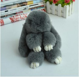 Wholesale Leather Toy Animals - Key ring Real Genuine Rex rabbit Furs Keychain Pendant Bag Car Charm Tag Cute Rabbit Toy Doll Real Fur Monster Keychains