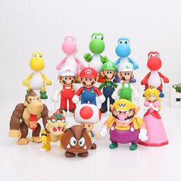 Wholesale Super Mario Wario Figure - 15pcs lot 8-15cm Super Mario Bros Bowser Koopa Yoshi Mario Luigi Wario goomba Peach PVC Figure Toys Model Dolls