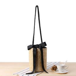 Wholesale Black Cotton Drawstring Bag - 2017 Lady Large Capacity Drawstring Bucket Basket Shoulder Bag Summer Handmade Women Straw Beach Bag Ribbons Weave Handbag C100