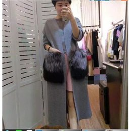 Wholesale Fox Mink Coats - Wholesale-new winter coat mink cashmere in the long section of large pockets of silver fox fur coat colorwhole luxurycardiganCan wholesale