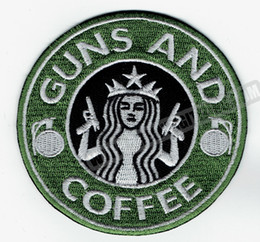 Wholesale Embroidery Patches Badges - Wholesale GUN & Coffee Embroidered Iron on Patch Tactical Morale Military Badge Any Garment Vest Rider Patch DIY Applique Embroidery Patch