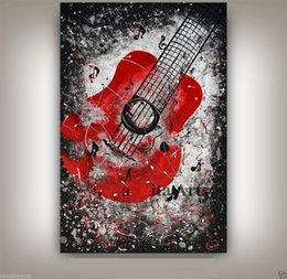 Wholesale classical music free - Framed MUSIC ART Large Guitar Painting CONTEMPORARY Art Jazz Guitar Artwork Oil Painting On Quality canvas Free Shipping,Multi sizes Ab049