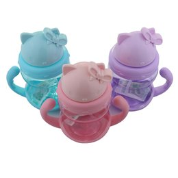 Wholesale Animal Shaped Straws - Wholesale- Momy And Angel Happy Kitty Kid Straw Cup With Handles Baby Bottle Child Learn Drinking Water Straw Training Cup Gifts for Child