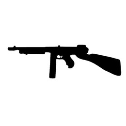 Wholesale Vinyl Surfaces - Wholesale 10pcs lot Tommy Gun Silhouette Art Car Stickers for Window Bumper Laptop and All Smooth Surface Automotive Exterior Vinyl Decal