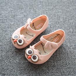 Wholesale Plastic Mini Shoes - 13-16.5cm New mini sed style SED girls beach sandals children cute owl plastic PVC jelly shoes for kids wholesale